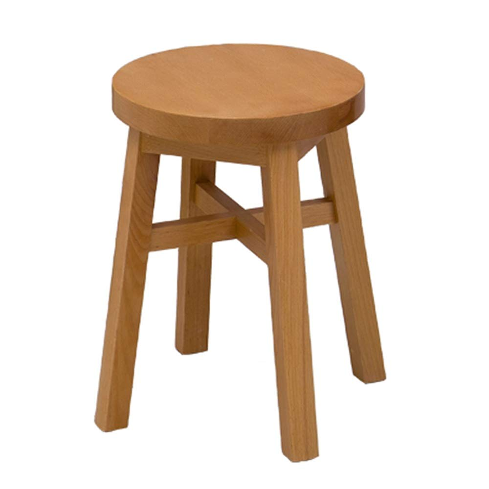 3045cm GWDJ Stool, Bench, Solid Wood Stool, Dining Stool, Bedroom Makeup Stool, Leisure Round Stool, 40 45 cm Height Reinforced Footrest (Size   30  45cm)