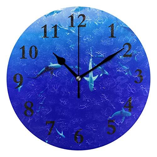 - FunnyCustom Round Wall Clock Swimming Shark Acrylic Creative Decorative for Living Room/Kitchen/Bedroom/Family