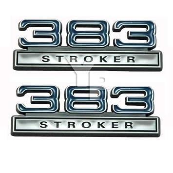 Chrome, Blue & Black 383 Stroker Fender Emblems - Universal Fitment