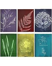 """Gukasxi 24 vel cyanotype papier hoge gevoeligheid zon afdrukken natuur afdrukken papier (6 kleuren) 8.3 """"x 11.7 '' cyanotype papier zonne-tekening papier voor kinderen en volwassenen naar kunst, ambachten, doe-het-zelf projecten"""
