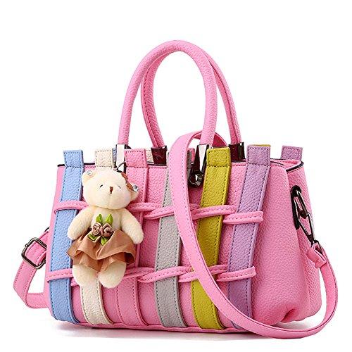 Bolsos de Mujer Bolso de Hombro Colorido Cuero PU Dulce y Duradero rosa