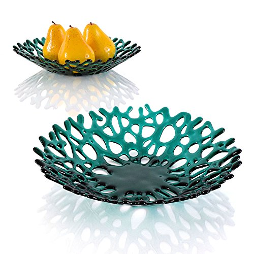 (Emerald Green Lacy Glass Art Decorative Sea Coral Fruit Bowl)