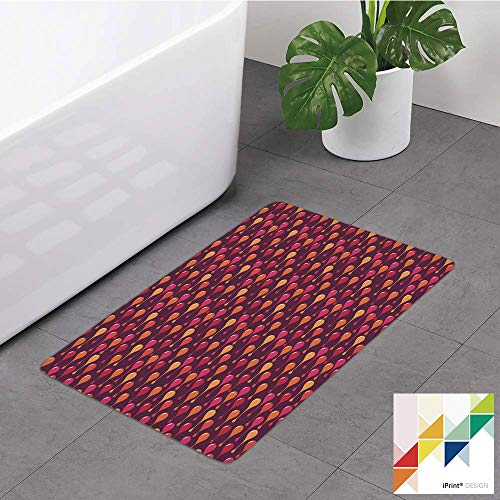 №22286 Bathroom Rug,Abstract, Contemporary Art Repetition with Warm Colored Drop Motifs Dreamy Design, Plum and Multicolor, Non Slip Coral Velvet Foam Bath Mat,Soft Absorbent Shower Mat Kitchen Rug (Rugs Coloured Plum)