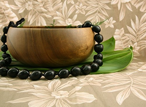 Hawaiian Kukui Nut Necklace Lei - Black