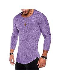 Ewingworld Men's Hipster Sweatshirt Swag Hip Hop Shirts Crewneck Curved Hem Long Sleeves