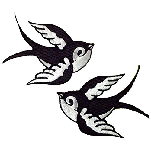 2x Sparrows Bird Black Tatoo Rockabilly Applique Embroidered Iron on Patch #F