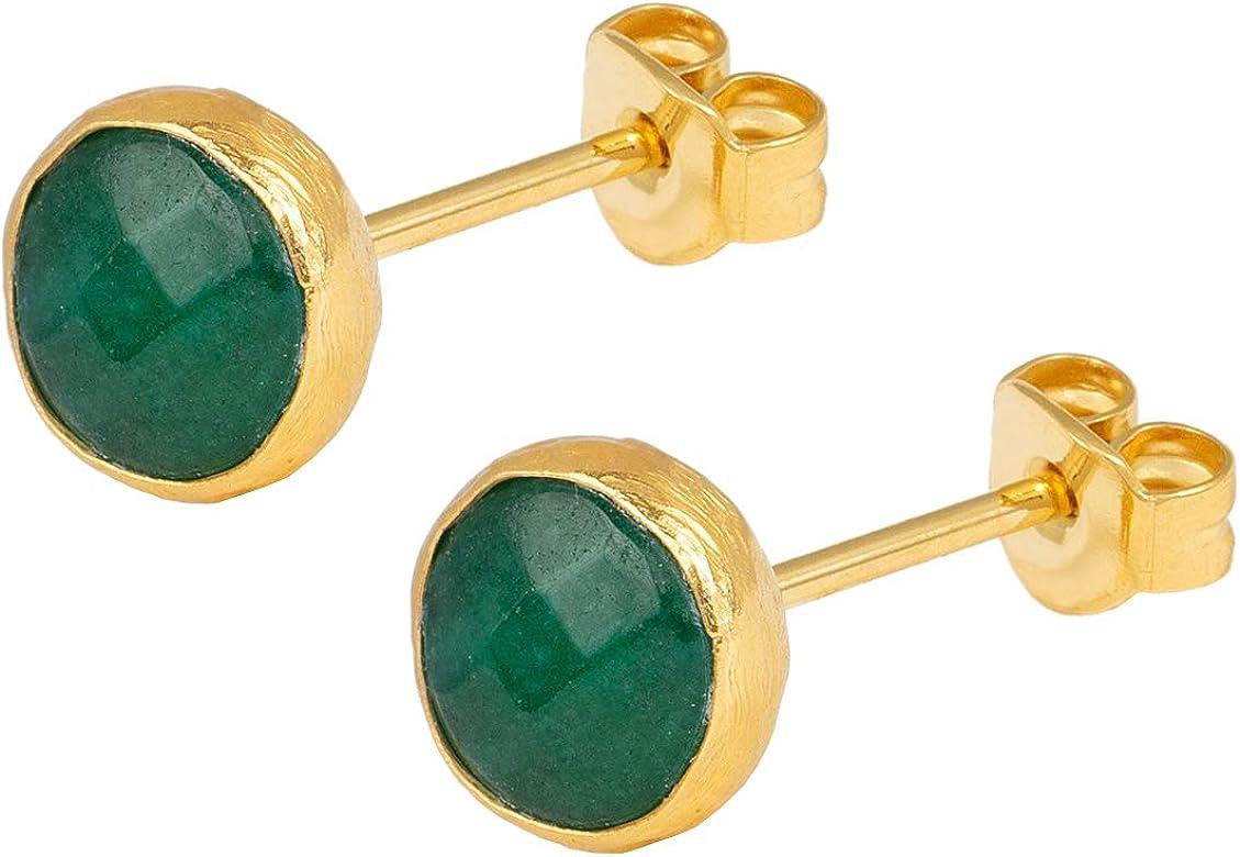SARAH BOSMAN - Pendientes para mujer con placa de oro y jade verde jade – Pendientes redondos plateados dorados con piedras preciosas verdes – SAB-E26GREJADg
