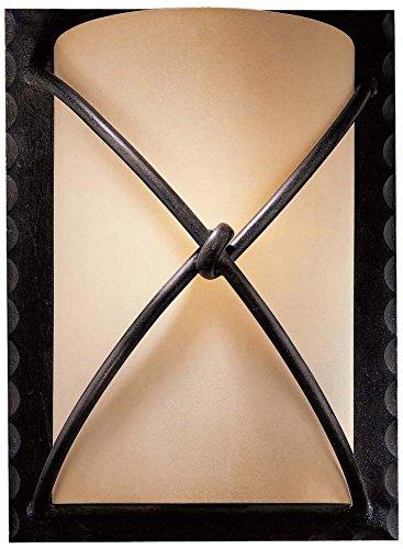 Minka Lavery 1972-138, Aspen II Glass Wall Sconce Lighting, 1 Light, 100 Total Watts, (138 Aspen Bronze Finish)