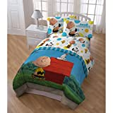 5 Piece Peanuts Movie Theme Comforter Twin Set, Adorable Multi Animated Pattern, Abstract Charlie Brown, Snoopy, Woodstock Character Printed Reversible Bedding, All Over Fun Graphic, Vibrant Color.