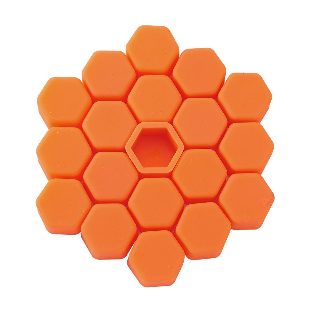 ATMOMO 19mm-ORANGE Silicone Car Wheel Hub Lugs Nuts Bolts Cover Protective Cap Dust Protective Tyre Valve Screw Cap Cover(20pcs/Set)