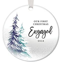 "1st Christmas Engaged Ornament 2018, Engagement Party Gifts for Couple, First Xmas as Fiance Fiancee Man Woman Gay Present Idea Ceramic Keepsake 3"" Flat Circle Porcelain with White Ribbon & Free Box"