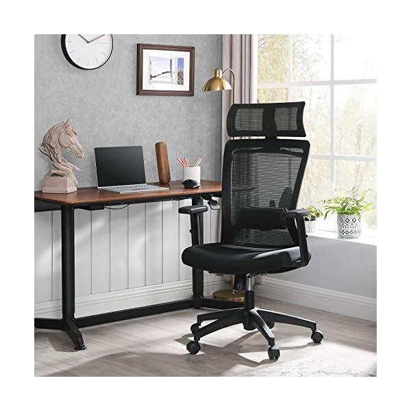 SONGMICS Fauteuil de bureau en toile, Chaise ergonomique, Siège pivotant, avec cintre pour manteau, dossier inclinable…