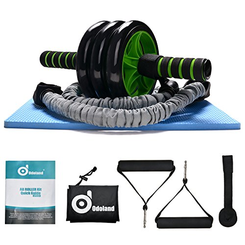 Abdominal+Machine Products : 3-In-1 AB Wheel Roller Kit - Odoland AB Roller Pro with Resistant Band,Knee Pad,Anti-Slip Handles and Storage Bag - Perfect Abdominal Core Carver Fitness Workout for Abs