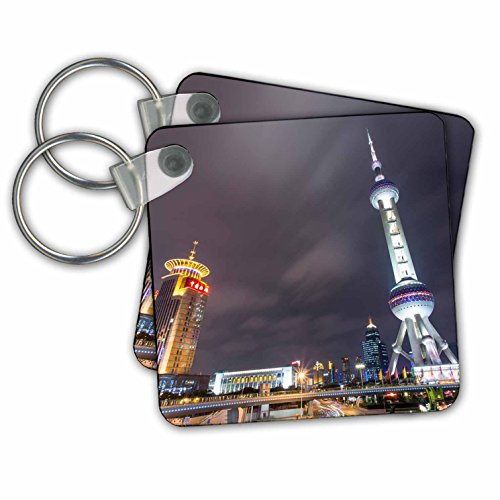 (Danita Delimont - Skyscrapers - China, Shanghai, Skyscrapers in Pudong district at night. - Key Chains - set of 2 Key Chains (kc_225575_1))