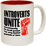 123t Mugs Introverts Unite Occasionally In Small Groups ... Limited Periods Of Time Ceramic Slogan Cup With Red Interior by 123t Mugs