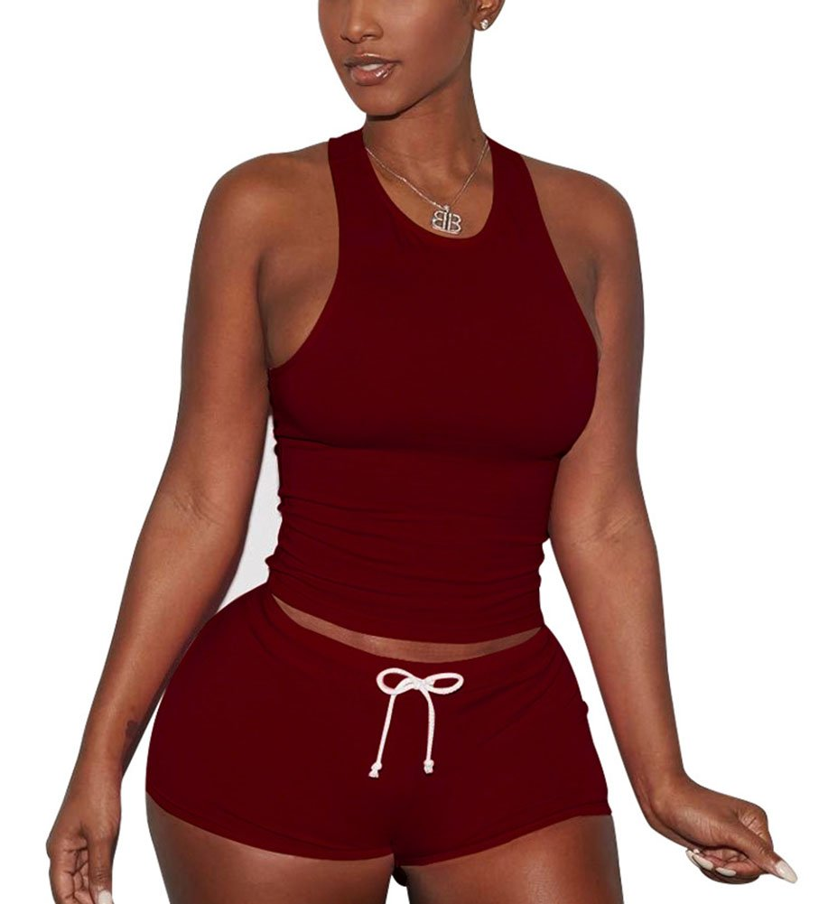Womens Activewear Sports Sleeveless Tank Top+Shorts 2 Piece Outfits Set Tracksuits Wine Red by Mojessy