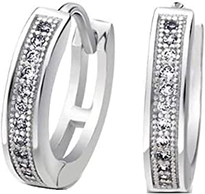 ARB Market 0.62 Inch Sterling Silver Simple Cubic Zirconia Cz Micro Pave Huggie Hoop Kpop Earrings For Women Girls, Mother'S Day, Birthday, Valentine'S Day Christmas Or Occasions (Silver)