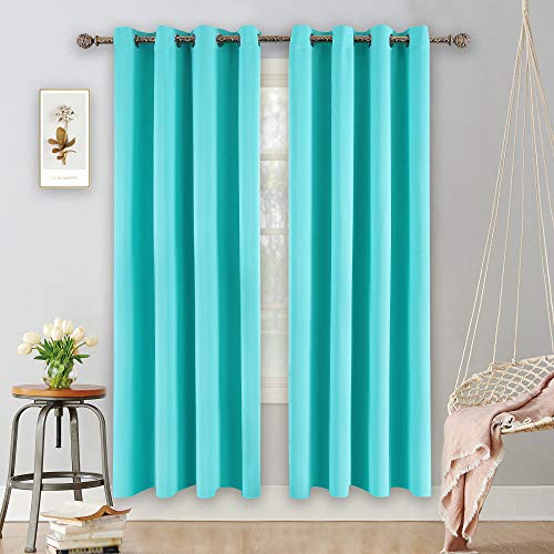 YGO Turquoise Curtains for Bedroom Living Room Thermal Insulated Innovated Microfiber Blackout Window Panels Light Blocking Drapes Grommet Top 52x84 Inch 2 Panels (Light Turquoise Curtains)