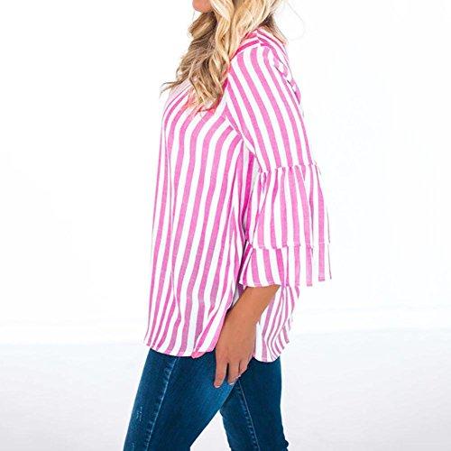 Dentelle Mode Chic Rose Chemise pour Vetements Roiper ete Femme en Jabot Chemisier Manches Classique Courtes Longues Femmes IxUfAwvA