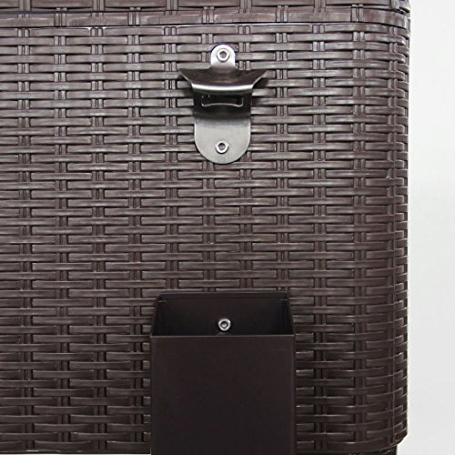 Clevr 80 Qt Outdoor Patio Rolling Ice Chest Cooler Cart, Dark Brown Wicker Faux Rattan   Portable Party Drink Beverage Bar Cold   Wheels with Shelf & Bottle Opener by Clevr (Image #8)
