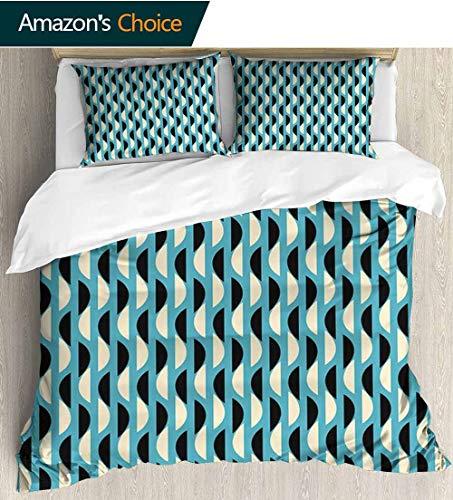 - shirlyhome Geometric European Style Print Bed Set,Half Circles with Soft Colors Ornate Geometrical Pattern Art Illustration Bedding Sets,1 Duvet Cover,1 Pillowcase 79