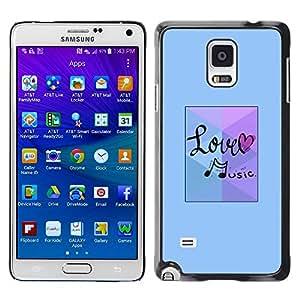 TopCaseStore / la caja del caucho duro de la cubierta de protección de la piel - Love Music Note Blue - Samsung Galaxy Note 4 SM-N910