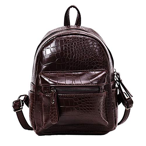 - DZTZ Fashion Lady Wild Classic Crocodile Style Temperament Backpack Bag Backpack (Brown)
