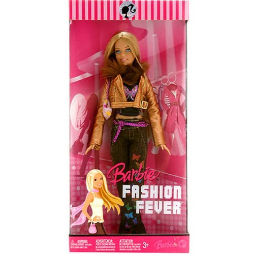 Mattel Year 2007 Barbie FASHION FEVER Series 12 Inch Doll - BARBIE (L3325) with Butterfly Print Tops, Gold Color Jacket with Faux Fur Collar, Denim Pants, Purse and Shoes