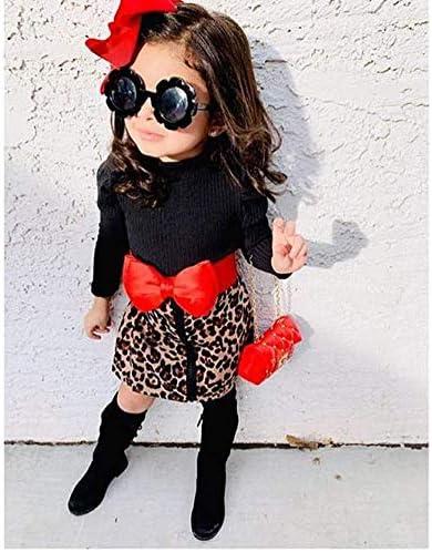 Gonna Corta con Zip Stampa Leopardo alla Moda Carolilly 2 Pezzi Completo Bambina Neonata Maglietta Nera a Maniche Lunghe