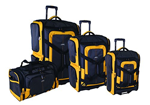 Lucas Luggage Accelerator 4-Piece Expandable Wheeled Duffel Set` (Black/Yellow) (Duffel Wheeled Set)