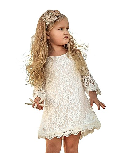 Tkiames Girls Easter Flower Lace Party Wedding Princess Dress 2-8Y by Tkiames