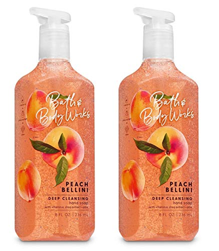 Bath and Body Works Peach Bellini Deep Cleansing Hand Soap - Pair of 2 Hand Soaps - 8 Ounces each