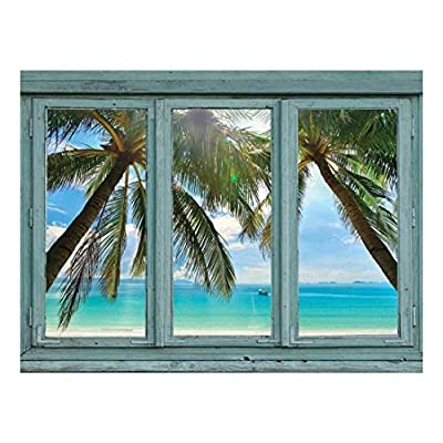 Crystal Blue Waters Framed by Palm Trees on...
