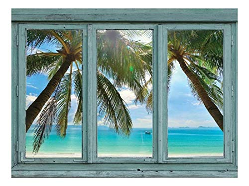 Crystal Blue waters framed by Palm Trees on a perfect white sand beach Wall Mural