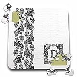 Russ Billington Monograms- Black Lace Initial D - Monogram Initial D in Black Lace with Butterfly Detail - 10x10 Inch Puzzle (pzl_239003_2)