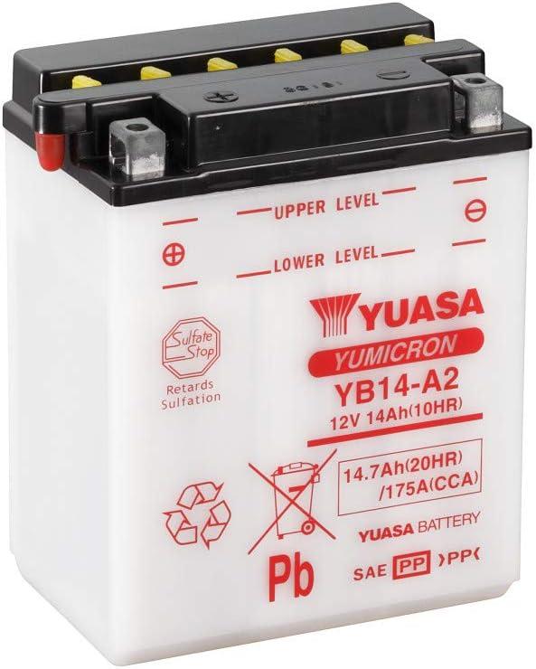 YUASA BATERIA YB14-A2 abierto - sin ácido
