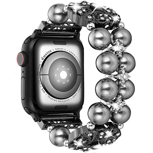 Brione Compatible with Apple Watch Band 42mm 44mm, Stretchy Pearl Beaded iWatch Band Bracelet Women Series 4 3 2 1 Bling Diamond Rhinestone Strap Cuff Ladies Jewelry Wristband - Black