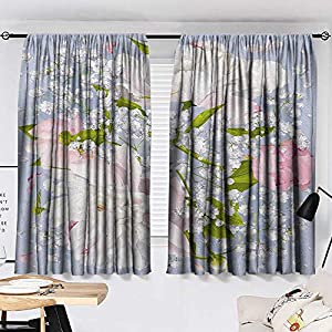Josepsh Flowers Pattern Darkening Curtains Romantic Bridal Bouquet with Peonies Leaves and Gypsophila Valentines Day Wedding Room/Bedroom, Multicolor W72 x L72 2