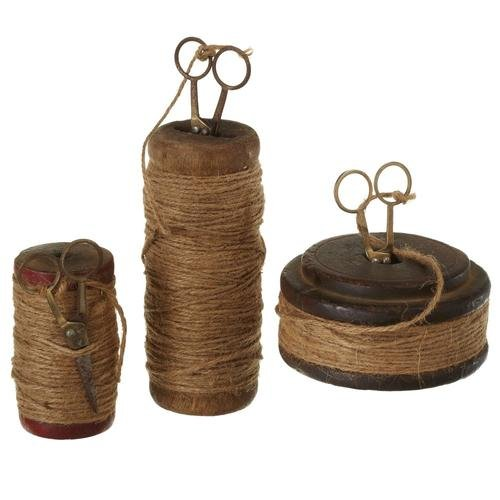 Diva At Home Set of 3 Brown Vintage Decorative Spools with Jute Thread and Scissors 6