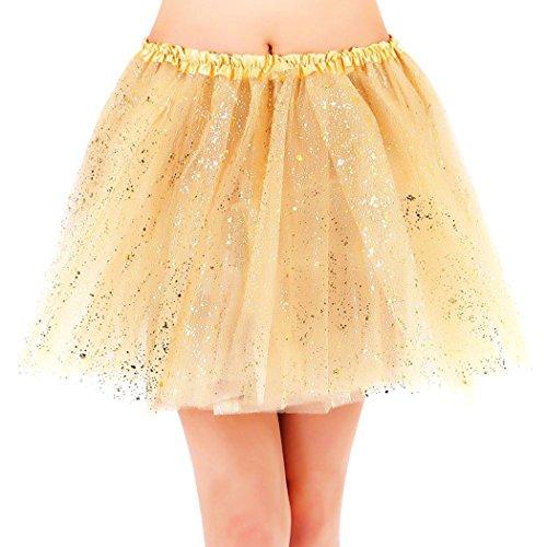 Jasmine Adult Womens Sparkly Glitter 3 Layered Tulle Ballet Tutu Skirt,Golden
