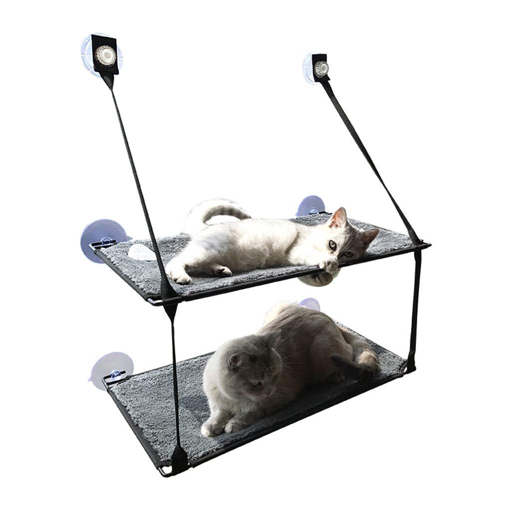 ダブル猫ぶら下げベッドペットハンモックサクションカップペットハンモックガラス窓猫ハンモックプラットフォームぶら下げ巣ペット猫ぶら下げベッド窓敷居猫のトイレ砂 (Color : GRAY, Size : 31*59CM) GRAY 31*59CM