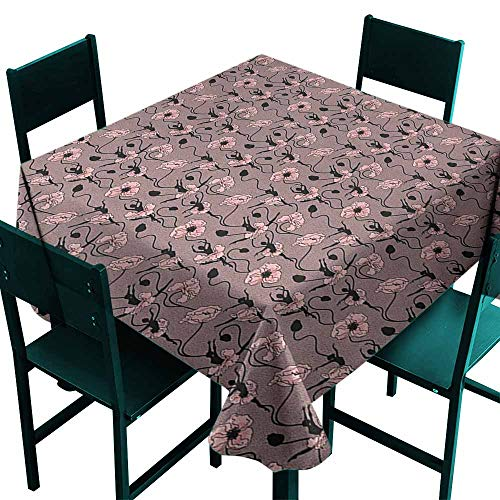 (Warm Family Abstract Decorative Textured Fabric Tablecloth Blooming Flowers and Ballerina Silhouettes Dance Figures with Petals Great for Buffet Table W54 x L54 Rose Black Dried)