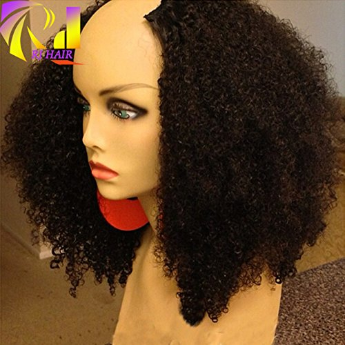 RJ HAIR 180% Density Afro Kinky Curly U Part Wig Human Hair Virgin Mongolian Remy Human Hair Upart Wigs Kinky Curls Middle U Shaped Wig (12inch)