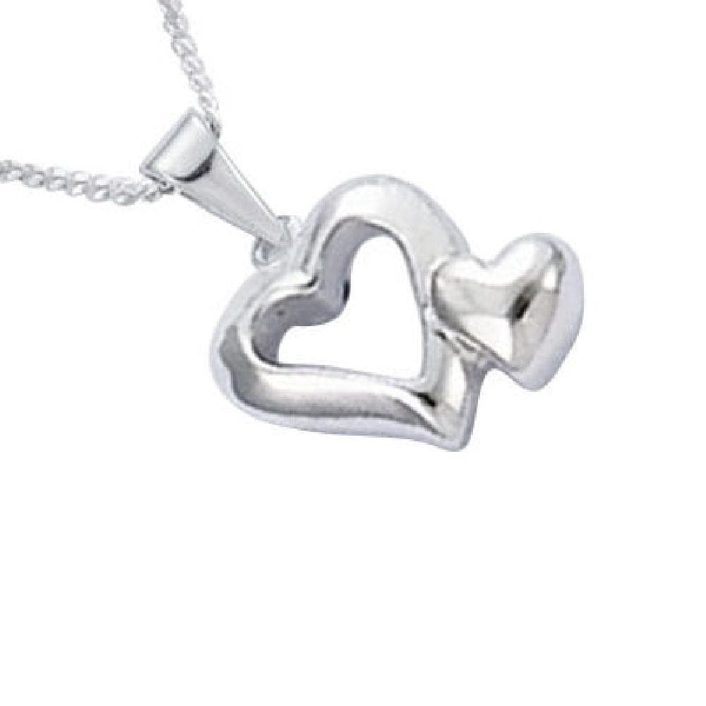 925 Sterling Silver 2 Hearts Pendant Sold alone: chain not included So Chic Jewels