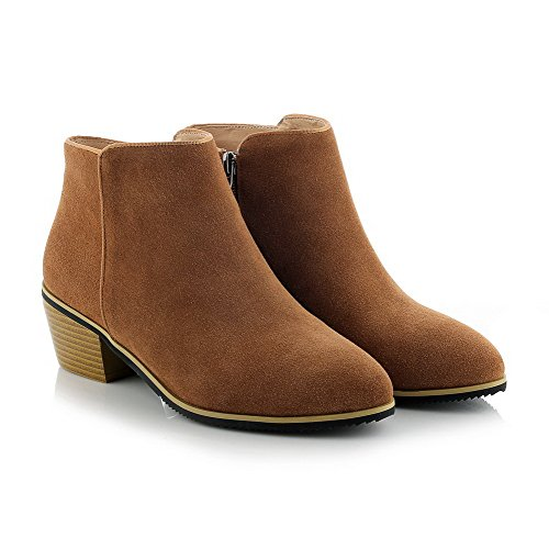Materials Boots and Kitten with Frosted Slipping Blend Brown Sole Non Heels Women's Allhqfashion Zippers EqZfwEY