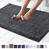 Non Slip Shaggy Chenille Bath Mat for Bathroom Rug Water Absorbent Carpet 21 x 34 Inches Charcoal Gray