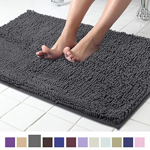 - ITSOFT Non-Slip Shaggy Chenille Soft Microfibers Bathroom Rug with Water Absorbent, Machine Washable, 21 x 34 Inches Charcoal Gray