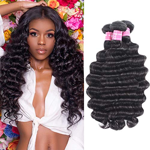 Beauty Forever Hair 8A Grade 100% Unprocessed Malaysian Loose Deep Wave virgin hair 3 Bundles Remy Human Hair Wave Natural Color Can Be Dyed and Bleached (12 14 16, 3 bundles) ()