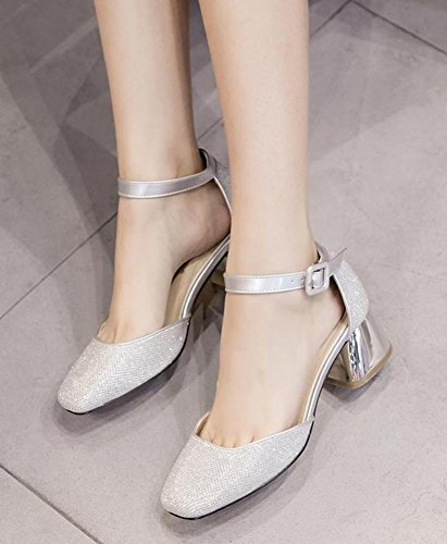IDIFU Womens Trendy Square Toe Mid Chunky Heels Ankle Strap D-Orsay Pumps Silver bHnptkopo