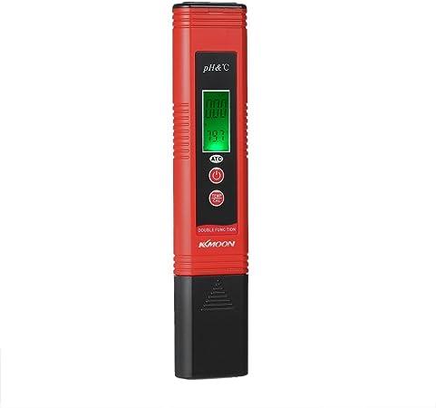 KKmoonp H-m/ètre Tester Portable pH Pen-Type compensation automatique de temp/érature ATC Fonction Auto Calibration et r/étro/éclairage LCD Acidit/é /& TEMP Qualit/é de leau Analyse p/ériph/érique